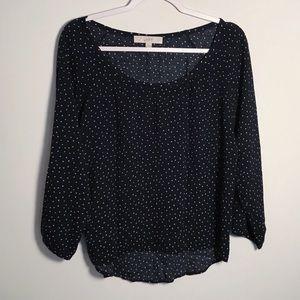 Loft   sheer heart print blouse size S